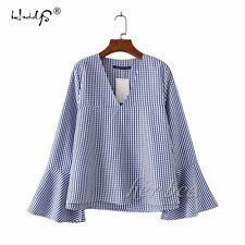 Summer Autumn Womens V Neck Tops Trumpet Sleeves Plaid Shirt Pullover Blouse S-L