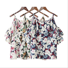 Fashion Korean Women Printing Blouse With Cold Shoulder & Sling Top Blouse Shirt