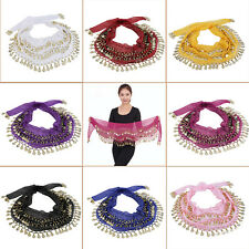 3 Rows 128 Gold Coins Belly Dance Costume Hip Scarf Skirt Belt Wrap Waist ER