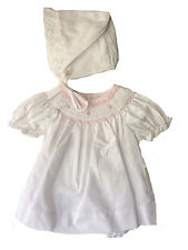 Petit Ami Girls Dress White & Pink Smocked Dress with Pearls NWT Infant Sizes