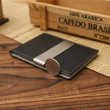 Mens Money Clip Wallets, PU Leather Silver Bifold Slim ID Credit Card Holders
