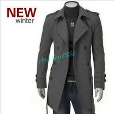 Mens British Style High Quanlity Stylish Woolen Trench Coat Casual Windcoats New