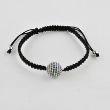 12MM Blue CZ Silver Color Plated Micro Pave Ball Beads Macrame Bracelet Jewelry