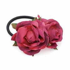 New Ladies Double Rose Flower Pink Tone Leaf Hair Elastic Hair Band Accessories