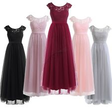 Women Ladies Lace Chiffon Tulle Bridesmaid Dress Wedding Evening Prom Long Gown