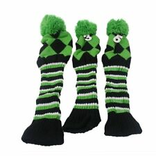 NEW Golf Club Glove Knit 3pcs Headcover Set Vintange Pom Pom Sock Covers 1-3-5