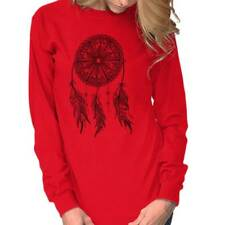 Native American Indian Wolf Dream Catcher Long Sleeve Tee