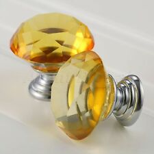 Crystal Glass 30mm Knobs Cabinet Jewelery Box Brilliant Yellow Pull Handles New