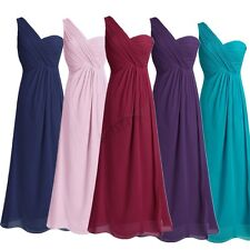 Women Lady One-shoulder Long Chiffon Wedding Formal Party Prom Bridesmaid Dress