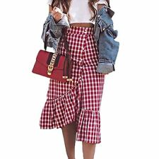 Women Red And White Plaid Long Skirts Ruffled Gingham Maxi Skirt