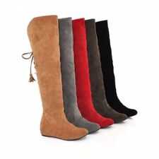Womens Thigh High Boots Stretch Over The Knee Suede Leather Boots