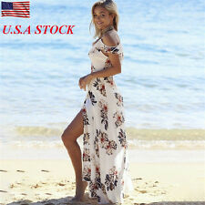 Summer Boho Long Maxi Dress Party Sleeveless Beach Casual Women Floral Sundress