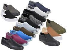 Mens Canvas Shoes Slip On Casual Comfortable Deck Plimsoll Slider Trainer Pumps
