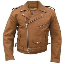 Men's Motorcycle Riding Biker Brown Leather Jacket Lined Side Lace