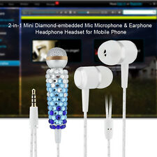 3.5mm Diamond Glitter Stereo Phone Microphone Mic w/ In-ear Headphone Earphone