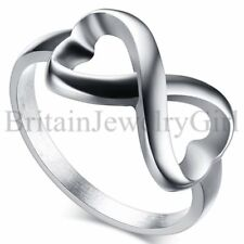 Stainless Steel Love Heart Infinity Ring Womens Wedding Promise Anniversary Band