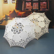 21''Women Bride Cotton Lace Embroidery Hollow Out Umbrella Parasol Wedding Prop