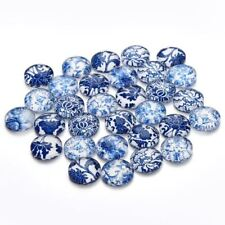 30pcs/lot 10 12 14 20 Mm Round Blue And White Porcelain Beads Flatback Photo Gla