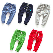 Boys Kids Girls Trousers Joggers Bottoms Cotton Harem Children Long Pants 2-7Y