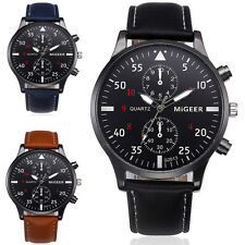 Fashion Men's Leather Stainless Steel Military Business Sport Quartz Wrist Watch