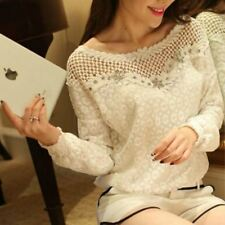 Women Casual O Neck Lace Blouse Tops Hollow Out Crochet Shirts