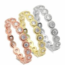 Stackable Yellow Rose Bezel set Mil grain Eternity 925 Sterling Silver Ring