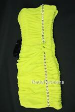 Bebe Jaiden Jeweled Dress Ruched Strapless Bustier Citronella XS 0 2 NWT