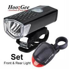 Bike Bicycle Cycling LED USB Rechargeable Front Light & Solar Rear Tail Lamp Set