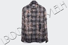 SAINT LAURENT PARIS 850$ Authentic New Bleached Cotton Plaid Yves Collar Shirt