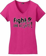 Fight Like a Girl Breast Cancer V-Neck Shirt Boxing Glove Ribbon Ladies Hot Pink