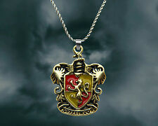 Harry Potter sterling silver / faux leather necklace with Gryffindor House charm