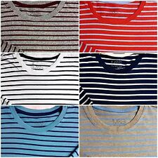 MARKS & SPENCER COMFORTABLE T SHIRT TOP RED BLUE BEIGE S M L XL 2XL STRIPED