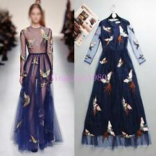 Hot Fashion Womens Dress Lace Long dress Floral Pattern Summer Vogue Casual Ch