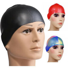 1pcs Adult Stretch Swimming Waterproof Long Hair Cap Silicone Ear Cup Hat New