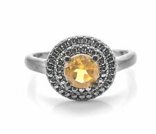925 Sterling Silver Ring with Yellow Natural Citrine Round Cut Gemstone Handmade