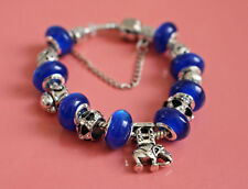 European  Paandor Style Silver Plated Bracelet, Murano Glass Beads and Charms