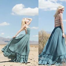 Vintage Party Sundress Women Summer Long Boho Maxi Dress Beach Backless Bandage