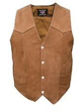 Mens Brown Leather Motorcycle Biker Vest Buffalo Leather