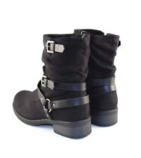 Black Faux Suede Mid Calf Harness Belt Strap Slouch Round Toe Flat Boots