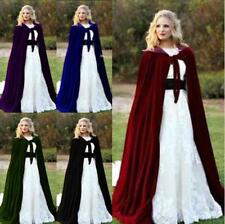 New Vintage Velvet Hooded Cloak Medieval Wedding Cape Wicca shawl Halloween Cape