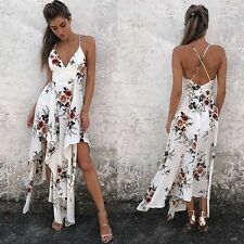 Summer Cocktail Beach Long Dress Maxi V-neck Women Sundress Evening Party Sleeve