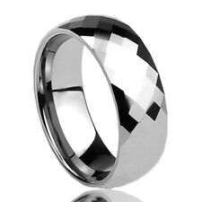 Men Women 8MM Tungsten Wedding Band Ring Multi Faceted High Polish Dome Ring