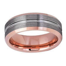 Men Women Tungsten Carbide Wedding Band Ring 8mm Grooved Center Brushed Ring