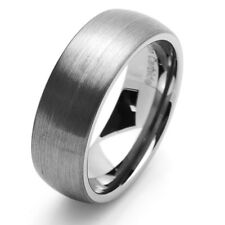 Men Women Tungsten Carbide Wedding Band Ring 8mm Brushed Domed Ring