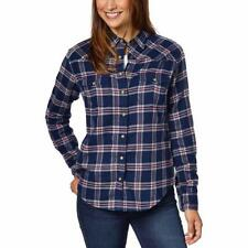 Jachs Girlfriend Women's Navy Blue Red Flannel Plaid Shirt Top Select Size CHEAP