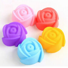 5pcs Pop Silicone Rose Muffin Cup Cake Baking Mold Chocolate Jelly Maker Mould