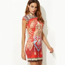 Women Fashion Short Red Vintage Print Keyhole Back Cap Sleeve  Dress