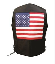 Mens Black Leather USA Flag Motorcycle Biker Vest Side Laces Buffalo Leather