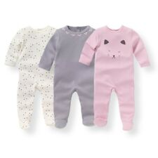 Baby Girls Pack Of 3 Printed Cotton Sleepsuits, Birth-3 Years