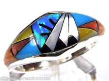 Multicolor, Fire Opal, & Turquoise Inlay 925 Sterling Silver Band Ring Size 7-8